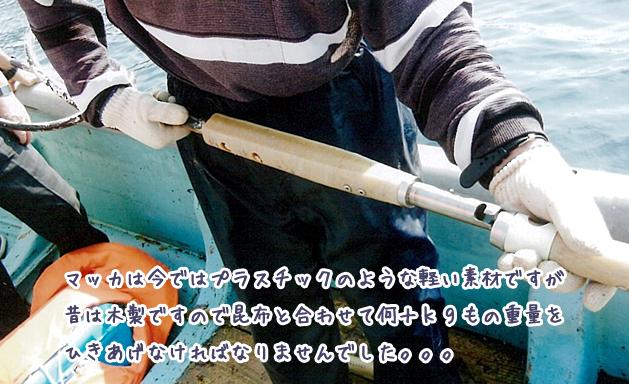 マッカは今ではプラスチックのような軽い素材ですが昔は木製ですので昆布と合わせて何十kgもの重量をひきあげなければなりませんでした。
